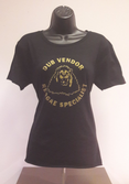 WOMENS - Dub Vendor Reggae Specialist T Shirt - ROUNDEL - BLACK / GOLD